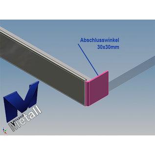 Versandmetall Dakgoot roestvrij staal 8 mm voor gehard glas 8 mm of gelaagd glas 8.76 mm, 1.4301 buitengrond K320
