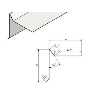 Versandmetall Ortgangblech 90° Außenecke Aluminium roh, Pultdach, Flachdach, 3-fach gekantet