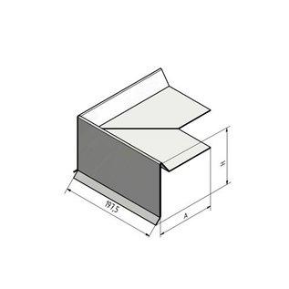Versandmetall Ortgangblech 90° Außenecke Edelstahl gebürstet, Pultdach, Flachdach, 3-fach gekantet