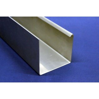 Versandmetall Gooten P1 bakgoot gootprofiel gemaakt van roestvrij Staal 1.4301 buitenzijde geschuurd(grid320)