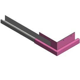 Versandmetall Goot P1 bakgoot gootprofiel  buitenhoek 90° gemaakt van roestvrij Staal buitenzijde geschuurd
