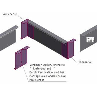 Versandmetall Winkel-Verbinder stabile Rasenkanten Beeteinfassun Edelstahl rostfrei 130-200mm