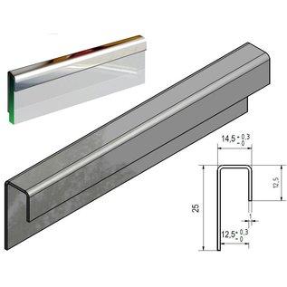 Versandmetall Einfassprofil K320 1,0mm Edelstahl für 12,5mm Glas oder Gipskarton ungleichschenkelig - 2R (IIID) spiegeloptik
