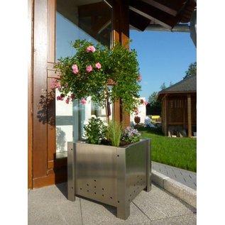Versandmetall Edelstahl Blumen Pflanzkübel Übertopf 3 Größen verfügbar PK 30-60 bis PK 50-100 rechteckig rostfrei