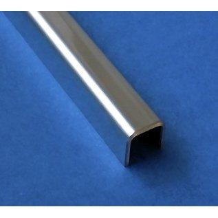 Versandmetall V4A (316L) Einfassprofil Brüstungsglas Balkon aus 1,0mm Edelstahl für Glasstärken von 10mm bis 18mm Glas