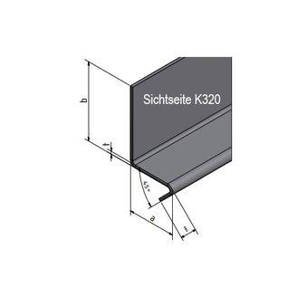 Versandmetall Hoekprofiel L-Profiel 90° met druiprand aan de Vorkant 1,0mm axb 70 x 70mm Lengte tot 2500 mm
