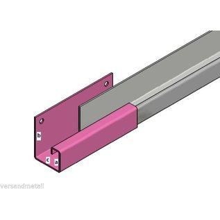 Versandmetall Gooten P1, Bakgoot, Verbinding recht , gemaakt van 1,5mm roestvrij Staal, 1.4301, buitenzijde geschuurd