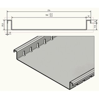 Versandmetall Drainagerinne aus Aluminium Einlaufbreite 190mm Bestellmengen 10m, 20m, 30m, 40m, 50m