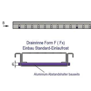 """Versandmetall Draingoten Afvoergoten Roostergoot Vorm """"F"""" Aluminium Hoogte 25,5mm breedte van inlaat 90-190mm laag inbouwhoogte"""