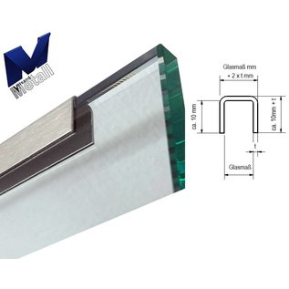 Versandmetall Glas Einfassprofil U-Profil aus 1,5mm Edelstahl Korn 320, ( innen 22mm ) verfügbare Längen bis max. 2500mm Glasstärke bis 21,76mm