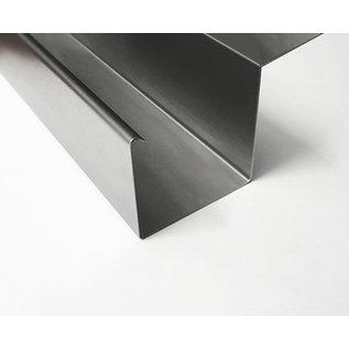 Versandmetall Gooten P2 bakgoot gootprofiel gemaakt van roestvrij Staal 1.4301 buitenzijde geschuurd (grid320)