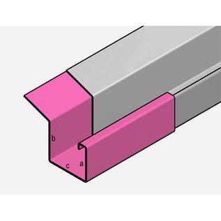 Versandmetall Goot P2 Bakgoot Verbinding recht gemaakt van 1,5mm roestvrij Staal 1.4301 buitenzijde geschuurd(grid320)