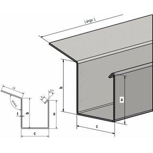 Versandmetall goot bakgoot P2 Eindstuk rechts roestvrij staal buitenzijde geschuurd(grid320)