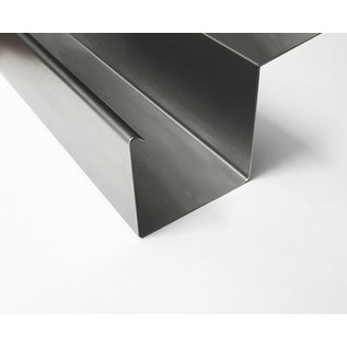 Versandmetall Regenrinne P2 - Endstück links - aus Edelstahl 1.4301 außen Schliff K320
