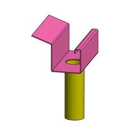 Versandmetall Goot Bakgoot verbinding recht P2 met afloop roestvrij Staal buitenzijde geschuurd (grid320)