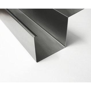 Versandmetall Regenrinne P2 - Endstück links mit Ablaufstutzen - aus Edelstahl 1.4301 außen Schliff K320