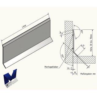 Versandmetall Sockelleiste Sockelblende Fussleiste unten 10mm  1,0mm 2x gekantet Edelstahl Außen Korn 320