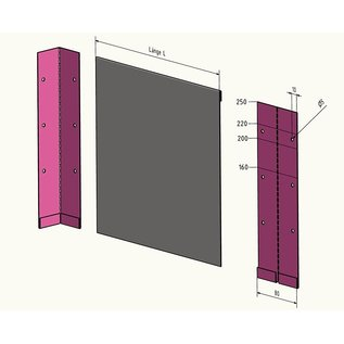 Versandmetall Multi-Verbinding  voor Stabile Graskanten met dubbele Bovenrand, roestvrij Staal, hoogte 160 - 250 mm