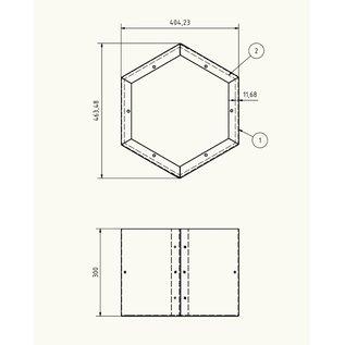 Versandmetall Uitbreiding modules legbord voor brandhaout HEXAGON XL gemaakt van  staal oppervlakke poedercoated