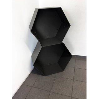 Versandmetall Kaminholzregal HEXAGON XL aus pulverbeschichtetem Stahl