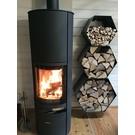 Versandmetall Legbord voor brandhout HEXAGON 3-delig formaat XL gemaakt van staal oppervlakke poedercoated