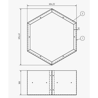 Versandmetall Kaminholzregal HEXAGON aus 3 verschieden große Module XL aus pulverbeschichtetem Stahl