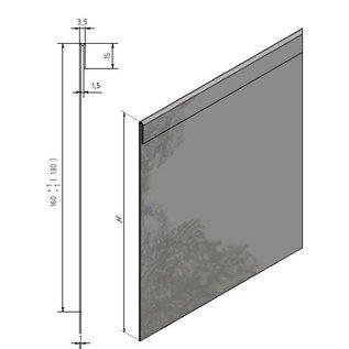 Versandmetall 30 mtr (15x2mtr) Stevige randenkanten Grindstrip met dubbele Bovenrand van 1,0 mm dik roestvrij staal (1.4301) hoogte 120mm