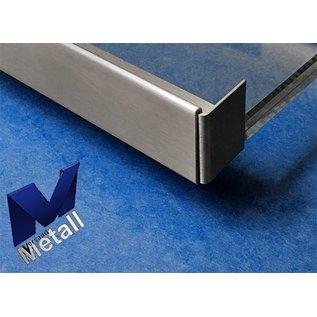 Versandmetall dakgoot Roestvrij Staal voor glasdakken 26mm buiten voor veiligheidsglas van 26mm of 25,76mm Materiaal 1.4301,Geschuurd(grid320)