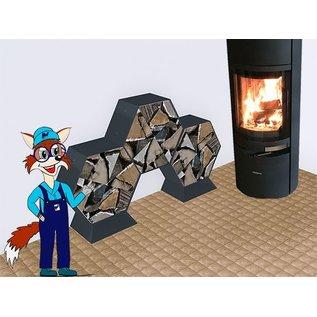 Versandmetall Voetstuk, voet voor brandhaout HEXAGON XL van gepoedercoat staal