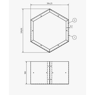 Versandmetall Kaminholzregal HEXAGON 2 verschieden große Module XL und 1 Sockel aus pulverbeschichtetem Stahl