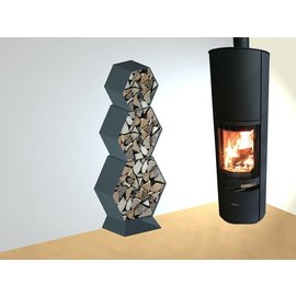 Versandmetall Legbord voor brandhout HEXAGON 3-delig formaat XL met Voetstuk gemaakt van staal   oppervlakke  poedercoated
