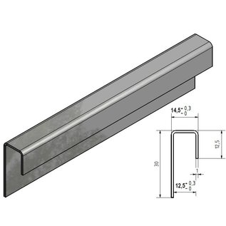 Versandmetall Glaseinfassprofil gebürstet K320 1,0mm Edelstahl für 12,5mm Glas ungleichschenkelig