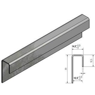 Versandmetall Glasrandprofiel geschuurd grid320 1,0 mm vor 12,5mm Glas ongelijk gezet