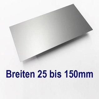 Versandmetall dunne plaat AlMg1 eloxiert E6/EV1 van 25mm tot 150 mm Breedte en lengte 1250 mm met Folie