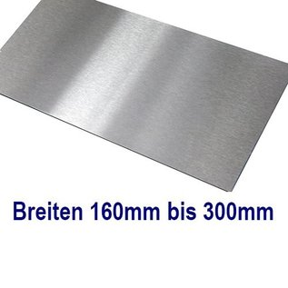 Versandmetall V4A 316L Dunne plaat, Roestvrij Staal,, gesneden op Maat, Breedte 160 - 300 mm, Lengte 1250 mm, oppervlakke geschuurd (grid320)