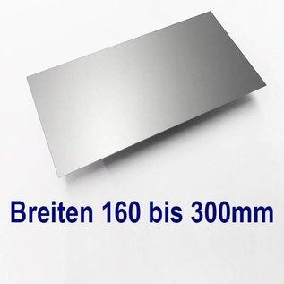 Versandmetall dunne plaat AlMg1 eloxiert E6/EV1 van 160 mm tot 300 mm Breedte en lengte 1500 mm met Folie
