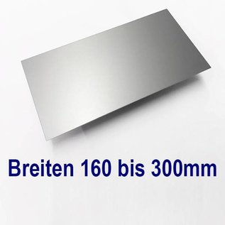 Versandmetall Aluminiumblech Zuschnitte AlMg1 eloxiert E6/EV1 mit Schutzfolie bis Länge 2000 mm