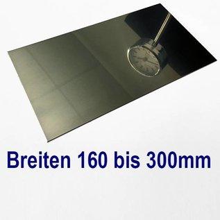 Versandmetall dunne plaat roestvrij staal, gesneden op Maat, Breedte 160 - 300 mm, Lengte 1500 mm, oppervlakke glanzend/spiegelnde