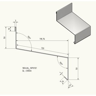 Versandmetall Traufblech roestvrij staal 1.4301 buiten K320 50/120/50, 1.0mm patroonlengte 100mm, lengtes 1000, 1500 2000mm