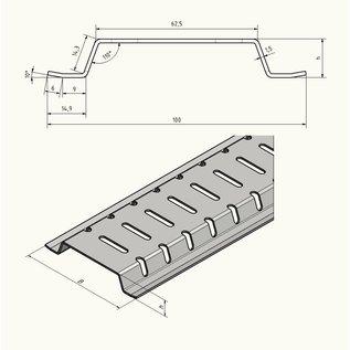 Versandmetall 2 m (2000 mm) drainagetakkanaal van aluminium 100 mm breed, hoogten van 15 tot 30 mm