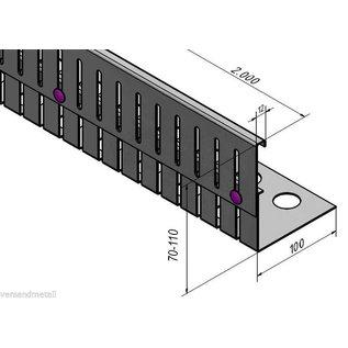 Versandmetall Kiesfangleiste Aluminium höhenverstellbar 1.4301 Höhe 70-110mm – 90° gekantet
