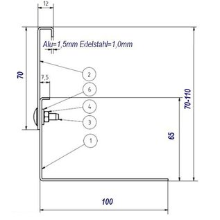 Versandmetall Grindkeringsprofiel Grindprofiel groot geperforeerd Aluminium Hoogte 70-110mm