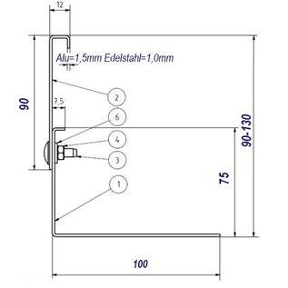 Versandmetall Kiesfangleiste Aluminium höhenverstellbar 1.4301 Höhe 90-130mm – 90° gekantet