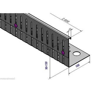 Versandmetall Grindkeringsprofiel grindprofiel hoogte verstelbaar roestvrij Staal 1.4301 Hoogte 90-130mm gezet 90°