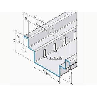 Versandmetall Drainagerinne Form B2 aus Aluminium Einlaufbreite 150mm Bestellmengen 10m, 20m, 30m, 40m, 50m