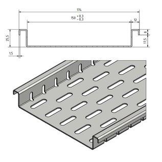 Versandmetall Afvoerkanaal gemaakt van aluminium inlaatbreedte 150mm bestelhoeveelheden 10m, 20m, 30m, 40m, 50m