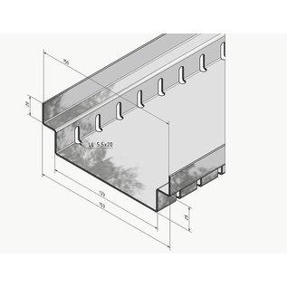 Versandmetall Drainagerinne Form A2 aus Aluminium Einlaufbreite 150mm Bestellmengen 10m, 20m, 30m, 40m, 50m