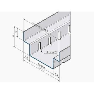 Versandmetall Draingoten Afvoergoten Roostergoot RVS vorm A2 Roestvrij Staal met Rooster Breedte Inlaat 100-200 mm lage inbouwhoogte