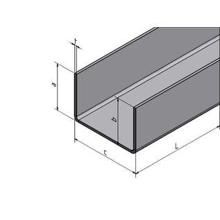 Versandmetall U-profiel gemaakt van roestvrij staal, gevouwen binnenafmetingen axcxb 25x25x25mm, oppervlakteafwerking K320