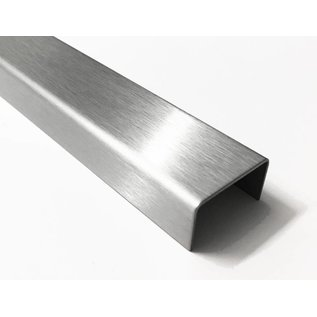 Versandmetall U-Profil aus Edelstahl gekantet Innenmaße  axcxb  10x40x10mm, Oberfläche Schliff K320